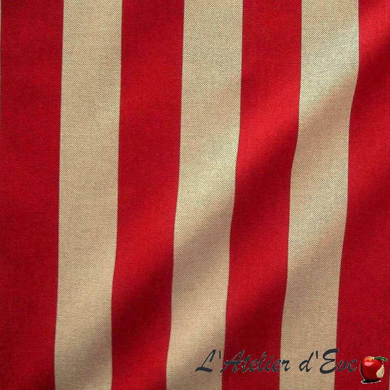 Transat - Tissu ameublement coton grande largeur rayure rouge/naturel Thevenon