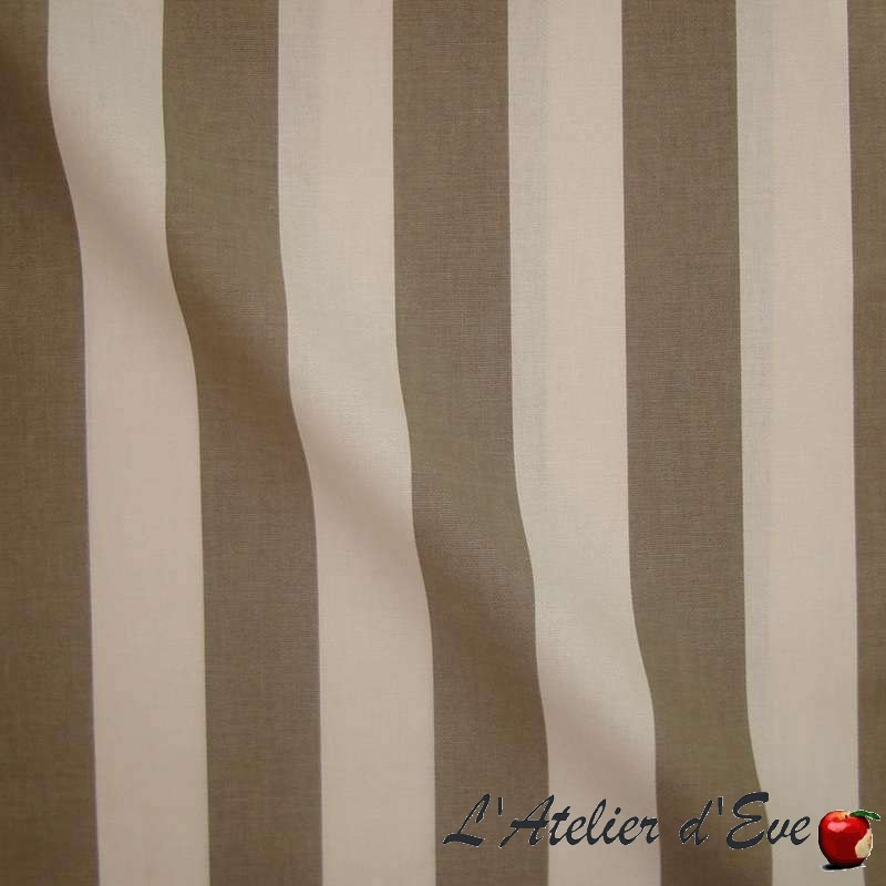 Transat - Tissu ameublement coton grande largeur rayure bicolore taupe Thevenon