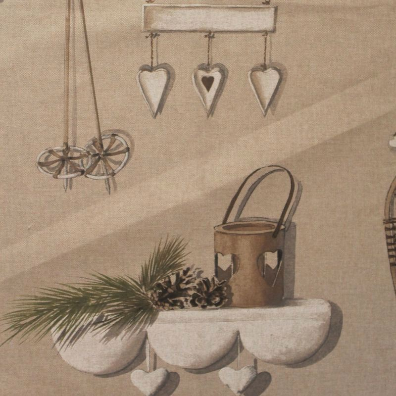 Rideau montagne/chalet Made in France Merry Bell taupe/naturel de Thevenon
