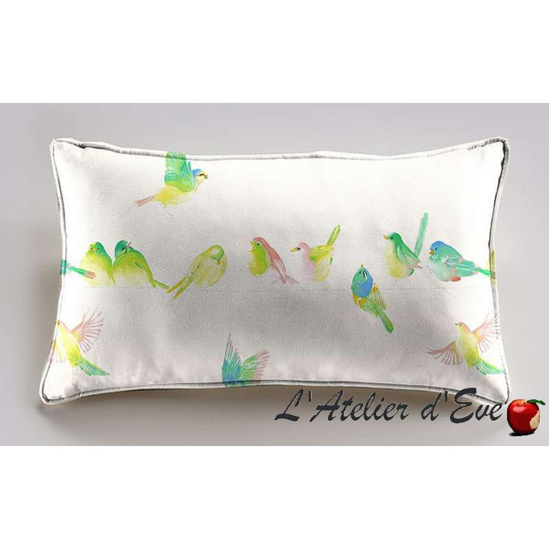 Happy birds cushion/pillow case (2 dimensions) fabric cotton Thévenon