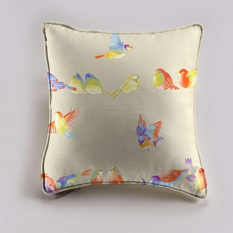 Happy birds Coussin/taie (2 dimensions) Tissu coton Thevenon
