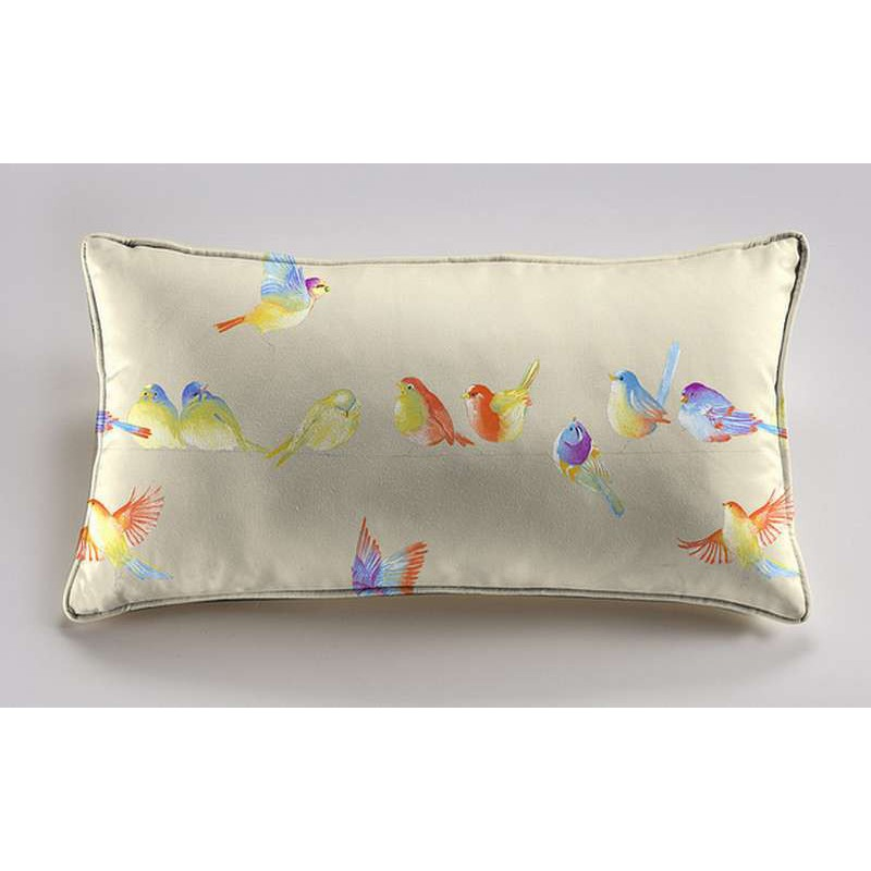 Happy birds cushion 60x30cm fabric cotton Thévenon
