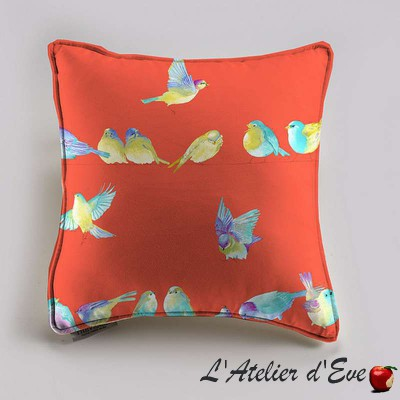 Happy birds cushion/pillow case (2 dimensions) fabric cotton Thévenon