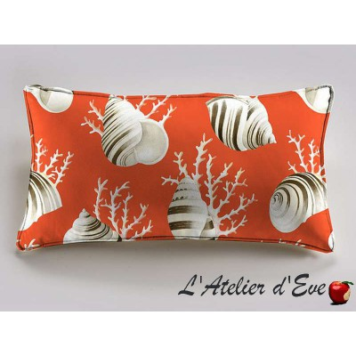 OK coral salmon bottom cushion 60x30cm Bachette cotton Thévenon