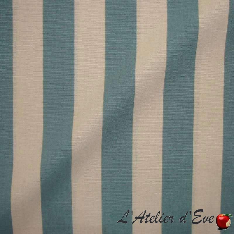 Transat - Tissu pour tapissier rayure ficelle/lagon par Thevenon Paris et L'Atelier d'Eve