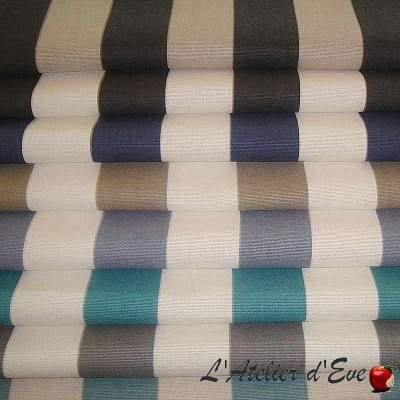 Transat - Tissu pour tapissier rayure bicolore par Thevenon Paris et L'Atelier d'Eve