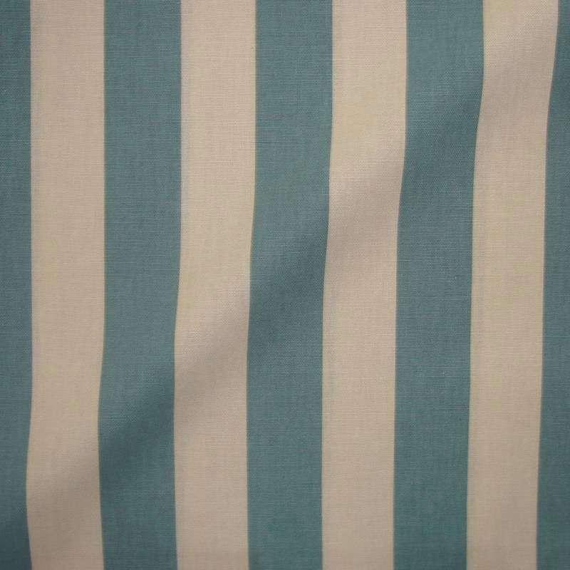 Transat - Rouleau tissu ameublement coton grande largeur à rayures bicolore ficelle/lagon - Tissu Thevenon