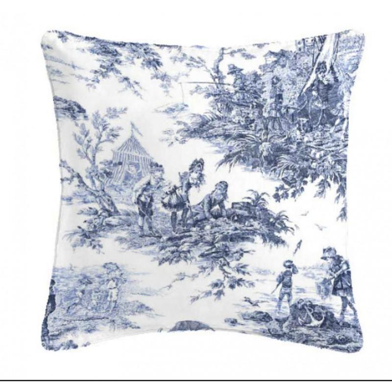Histoire d'Eau Coussin/taie Toile de Jouy bleue Tissu coton Thevenon