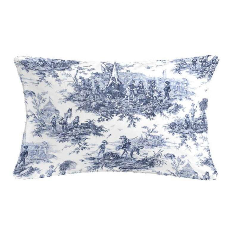 Histoire d'Eau Coussin 60x30cm Toile de Jouy bleue Tissu coton Thevenon