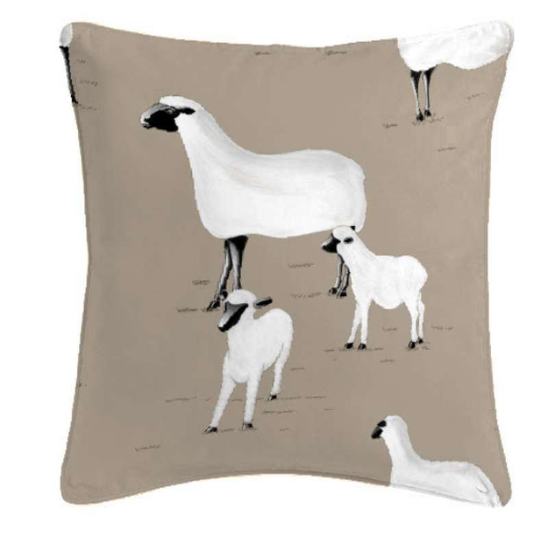 Pampa moutons ficelle Coussin/taie Tissu coton Thevenon