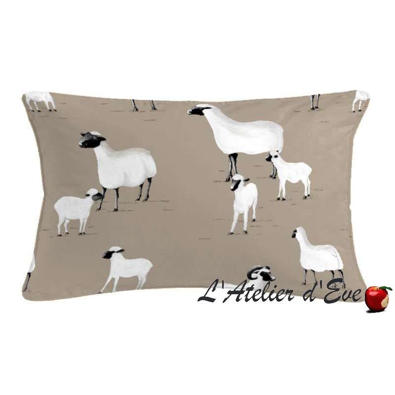 Pampa moutons Coussin rectangulaire 60x30cm Tissu coton Thevenon