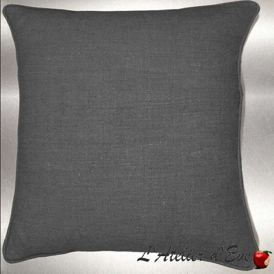 Lin lavé anthracite Coussin/taie toile de lin Thevenon