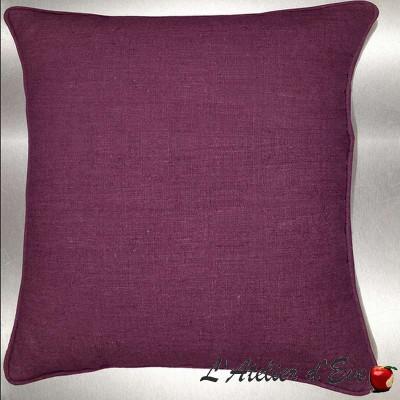 Lin lavé aubergine Coussin/taie (2 dimensions) Tissu coton Thevenon