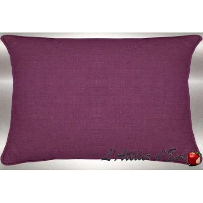 Lin lavé aubergine Coussin 60x30cm Tissu coton Thevenon