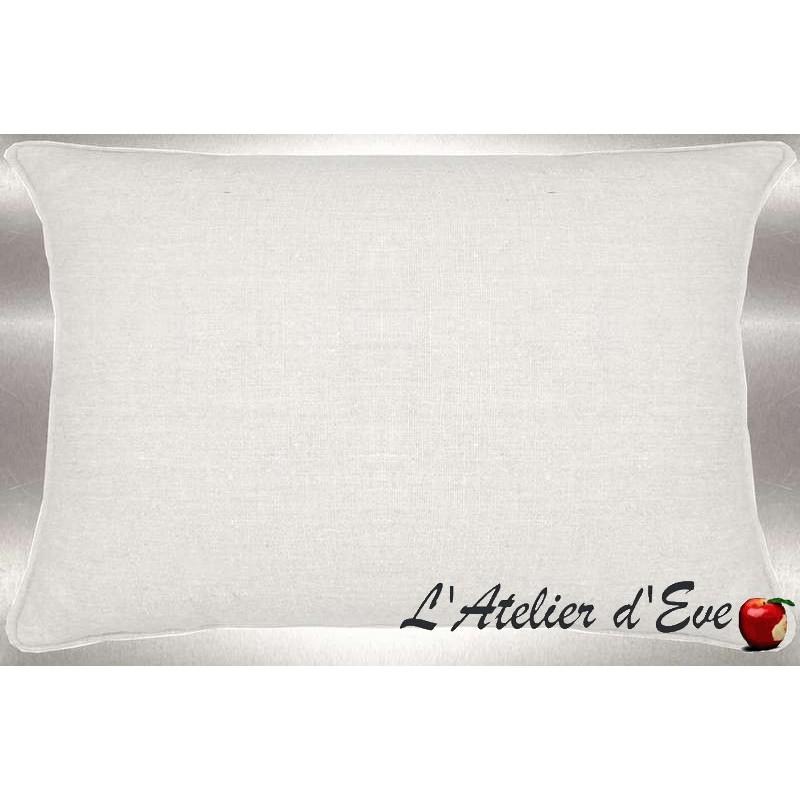 Lin lavé blanc Coussin 60x30cm Tissu coton Thevenon