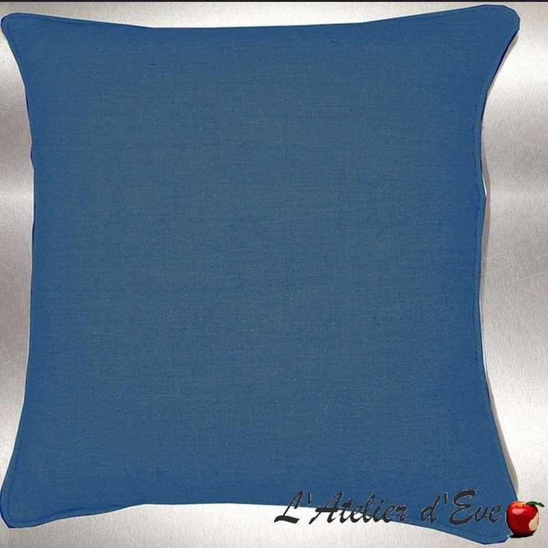 Lin lavé toile de lin bleu canard Coussin/taie Tissu coton Thevenon