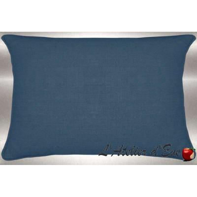 Lin lavé bleu canard Coussin 60x30cm Tissu coton Thevenon