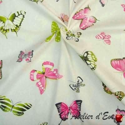 Olivia Rideau à oeillets prêt à poser Made in France coton imprimé papillons Thevenon Le Rideau