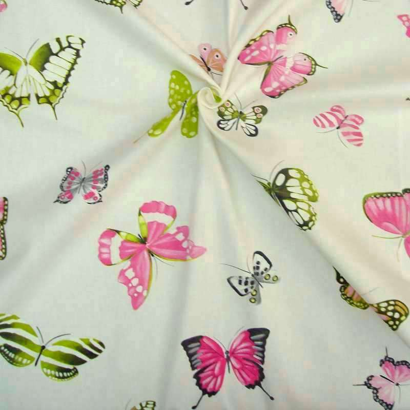 Olivia Rideau to eyelets ready to put printed cotton canvas butterflies Thévenon the curtain