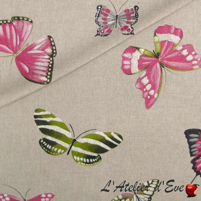Olivia Rouleau polycotton fabric upholstery and seat butterflies Thévenon room/half room