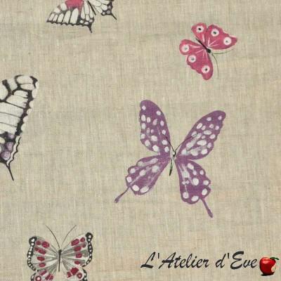 Olivia Rideau à oeillets prêt à poser toile de lin motif papillons Thevenon Le Rideau