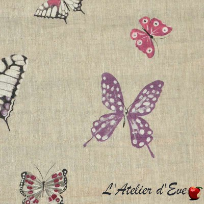 Olivia Toile de lin pour sièges motif papillons Thevenon