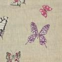 Olivia Rouleau toile de lin ameublement et siège motif papillons Thevenon Pièce/Demi-pièce