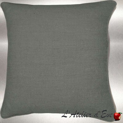 Bronze grey washed linen cushion/pillow case (2 dimensions) fabric cotton Thévenon