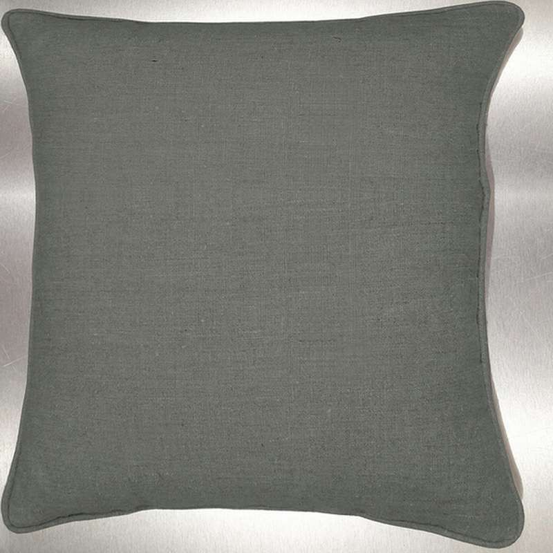 Lin lavé gris bronze Coussin/taie Tissu coton Thevenon