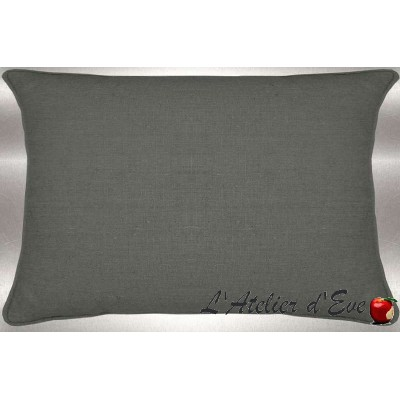 Bronze grey washed linen cushion 60x30cm fabric cotton Thévenon