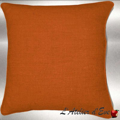 Tangerine washed linen cushion/pillow case (2 dimensions) fabric cotton Thévenon