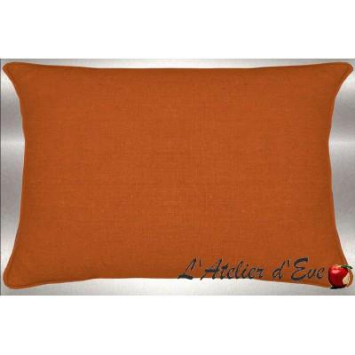Tangerine washed linen cushion 60x30cm fabric cotton Thévenon