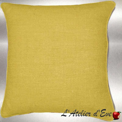 Mustard washed linen cushion/pillow case (2 dimensions) fabric cotton Thévenon