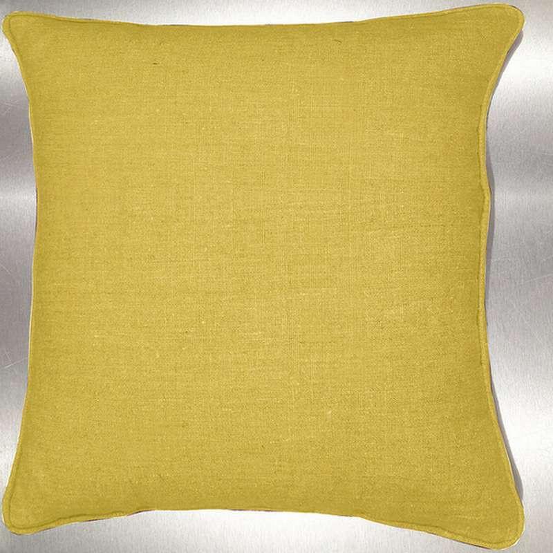 Lin lavé moutarde Coussin/taie Tissu coton Thevenon
