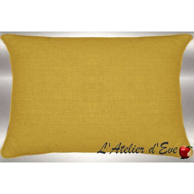 Mustard washed linen cushion 60x30cm fabric cotton Thévenon
