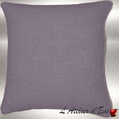 Lin lavé gris perle Coussin/taie (2 dimensions) Tissu coton Thevenon