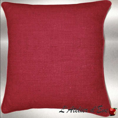 Red washed linen cushion/pillow case (2 dimensions) fabric cotton Thévenon