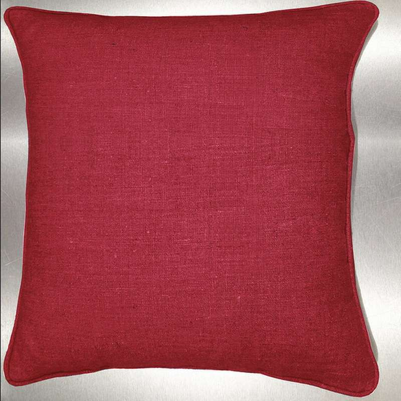 Lin lavé rouge Coussin/taie Tissu coton Thevenon