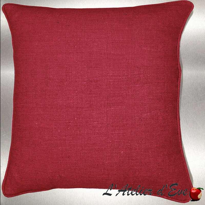 Lin lavé rouge Coussin/taie Tissu coton Thevenon