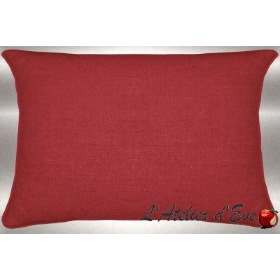 Red washed linen cushion 60x30cm fabric cotton Thévenon