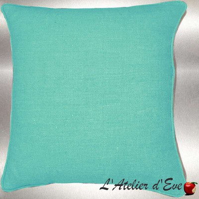 Green washed linen of water cushion/pillow case (2 dimensions) fabric cotton Thévenon