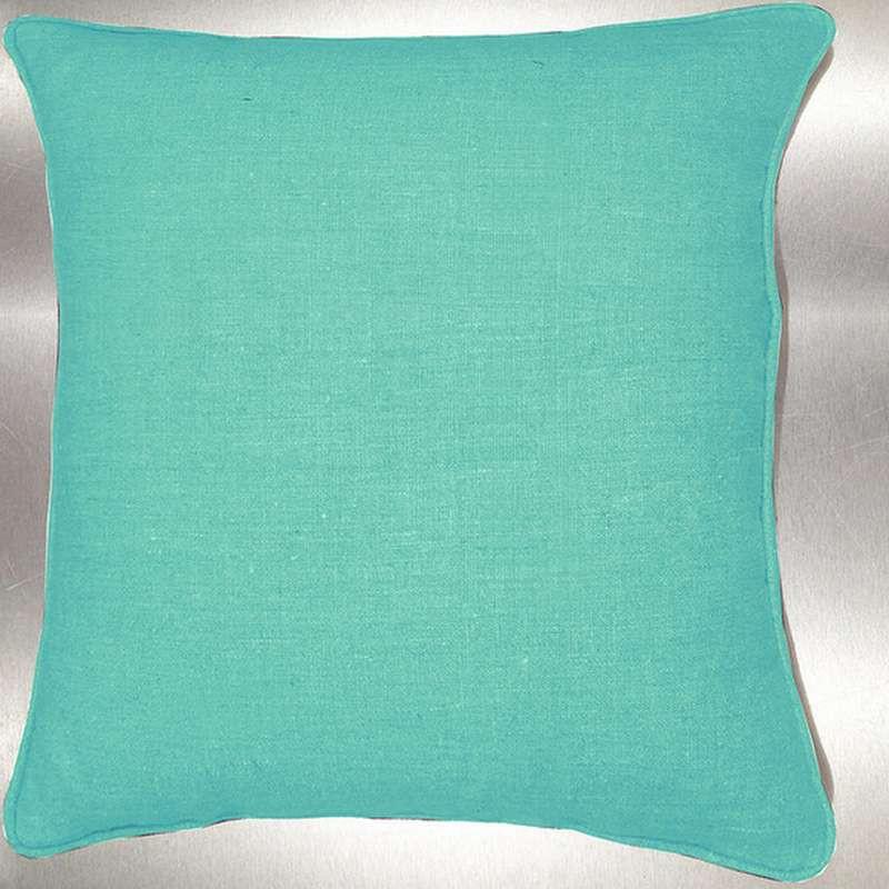Lin lavé vert d'eau Coussin/taie Tissu coton Thevenon