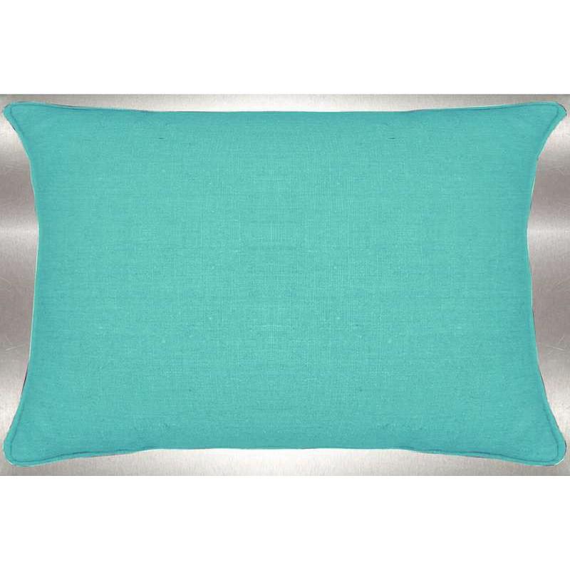 Lin lavé vert d'eau Coussin 60x30cm Tissu coton Thevenon