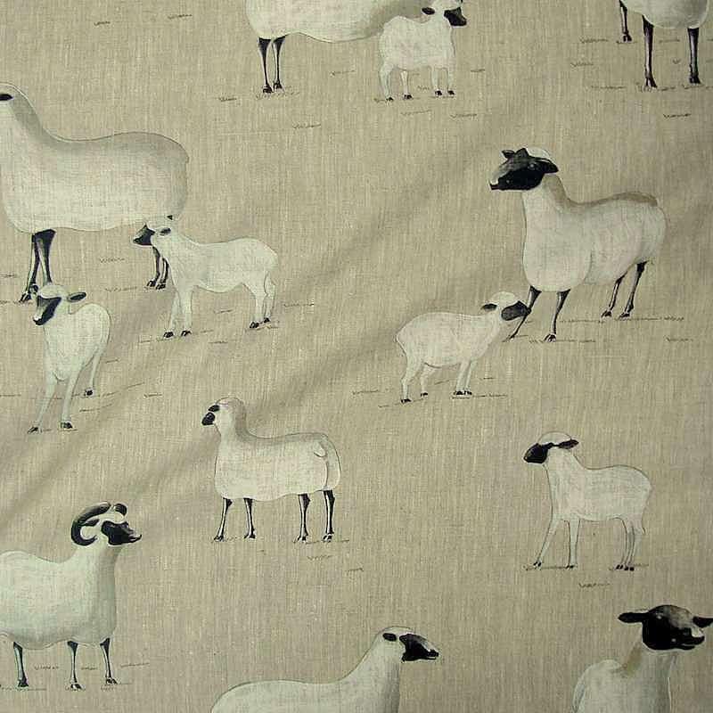 Pampa: Toile de lin imprimée moutons pour enfants par Thevenon et L'Atelier d'Eve