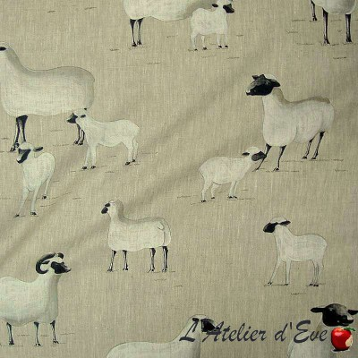 Pampas linen for seats sheep pattern Thévenon