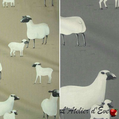 Pampa 2 colours furniture upholsterer large cotton bachette fabric width sheep Thévenon meter