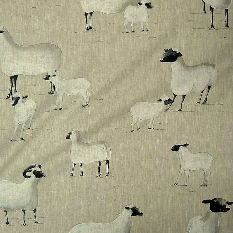 Pampa curtain with eyelets ready to ask sheep print canvas Thévenon the curtain