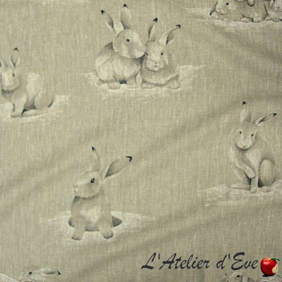 Lapinoux canvas upholstery pattern rabbits for seats Thévenon