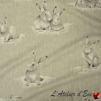 Lapinoux Rideau à oeillets prêt à poser toile de lin motif lapins Thevenon Le Rideau