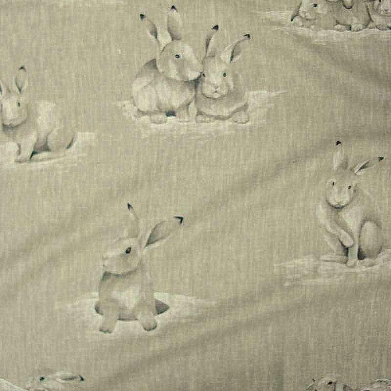 Lapinoux curtain eyelets ready to ask linen pattern rabbits Thévenon the curtain